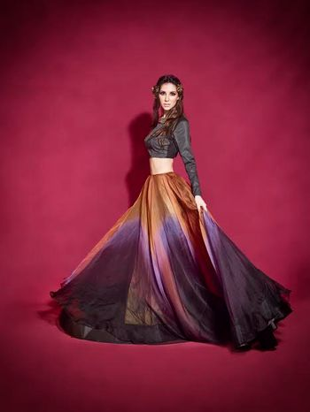 Photo of tissue fabric light lehenga