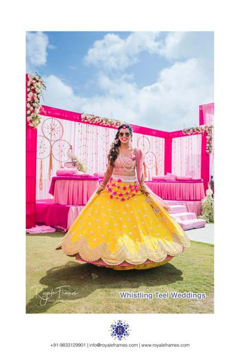 Twirling bride to be on mehendi day