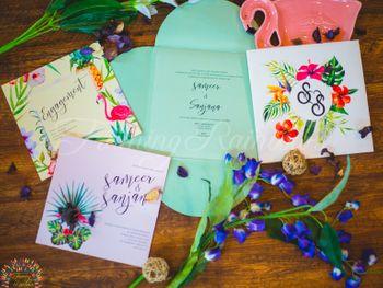 Modern wedding invitation with tropical theme