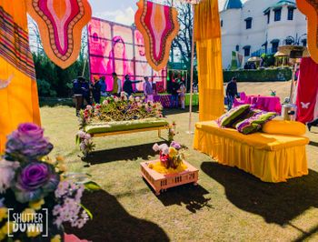Mehendi decor idea with yellow and pink theme