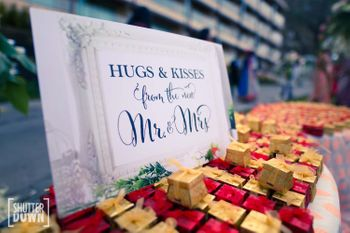 Wedding favours for guests with cute sign board