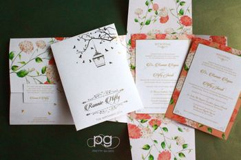 Floral Print Wedding Invitation Card