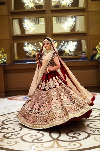 Maroon floral threadwork lehenga in velvet