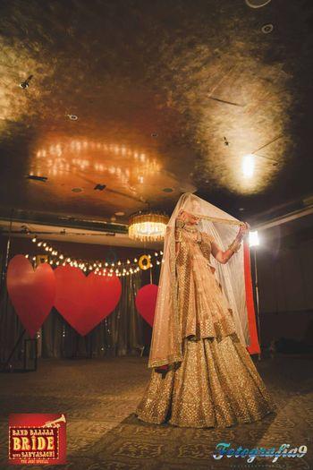 Photo of peach bridal lehenga