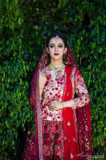 Lehenga with floral embroidery and long blouse offbeat