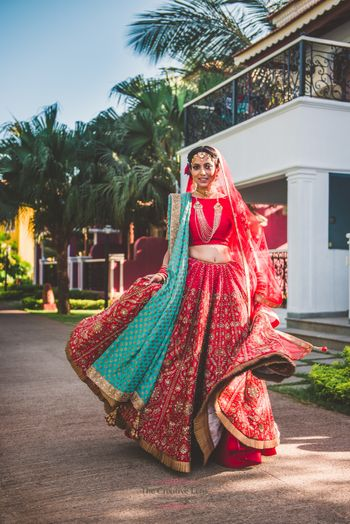 Red gota patti lehenga with turquoise brocade dupatta