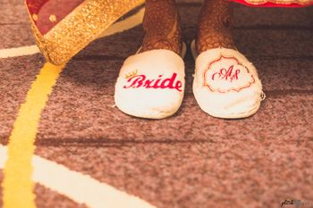 Customised bridal slippers with monograms