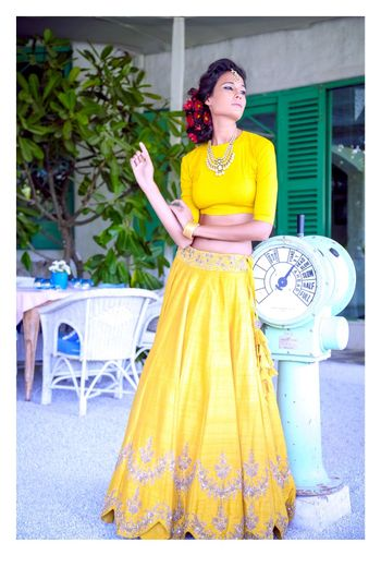 Photo of bright yellow lehenga