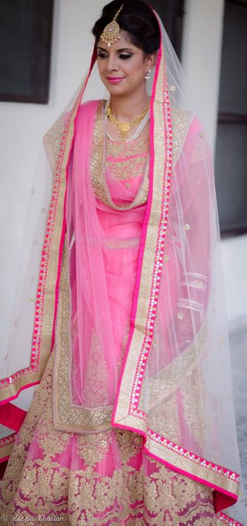 pink and gold lehenga