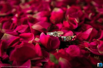 Couple Diamond Engagement Rings on Rose Petals