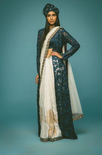Photo of blue and white saree