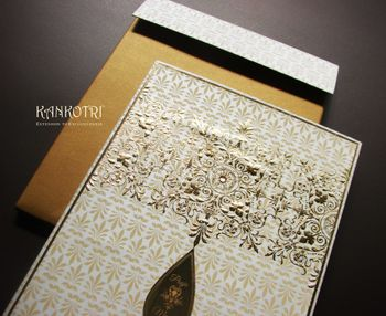 white and gold invitations