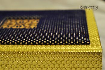 gold and blue invites