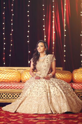 Beige sequin work lehenga for sangeet