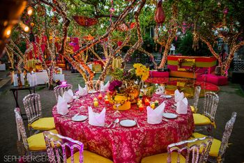 Bright and colorful table setting for mehendi