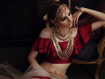 Gold and red bridal jewellery