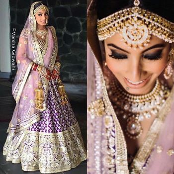 Purple and pink offbeat lehenga for bride
