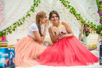 Pre wedding shoot with bridesmaids glamping theme