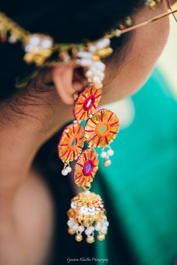 Gota jewellery with mirror earrings for mehendi