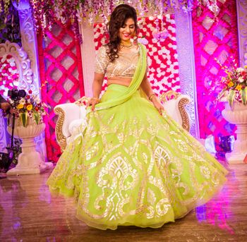 Photo of Lime Green Twirling Lehenga with Silver Work