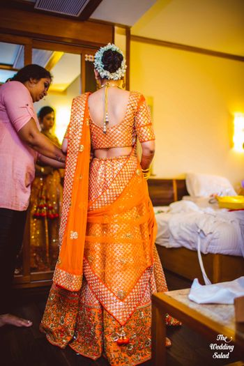 orange bridal lehenga