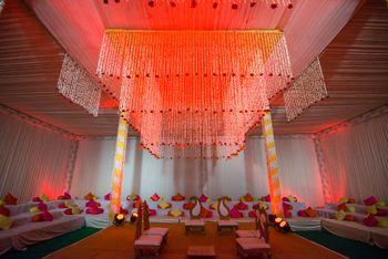 Hanging floral strings mandap decor