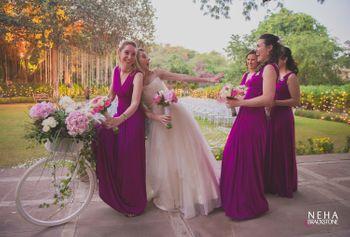 Candid Bride with bridesmaids shot