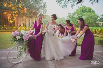 Bride with coordinated bridesmaids shot