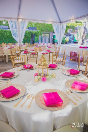 Pink and Gold table setting