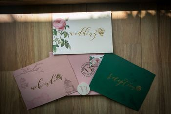 Beautiful floral print wedding invitation card