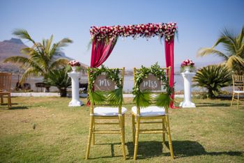 Mr and mrs chair backs for bride and groom