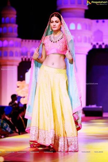 Photo of Blush Pink and Yellow Lehenga with Pastel Blue Dupatta