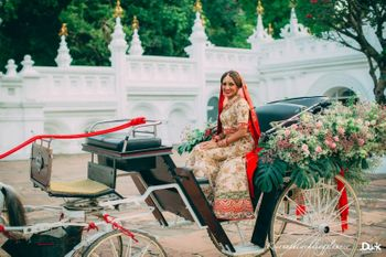 Unique bridal entry on chariot