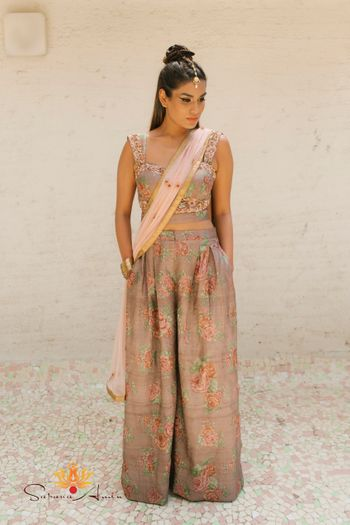 Sister of the bride outfit with palazzo and crop top