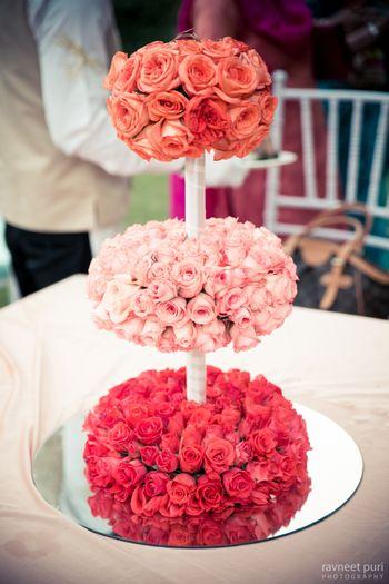 Photo of Tri color floral table centerpiece