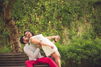 Romantic and cute pre wedding couple shot