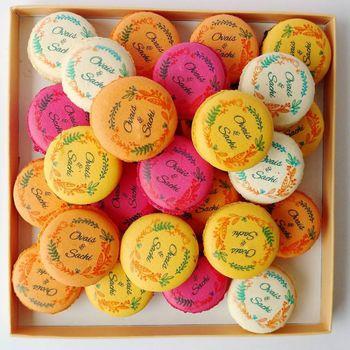 Custom printed macarons as favours