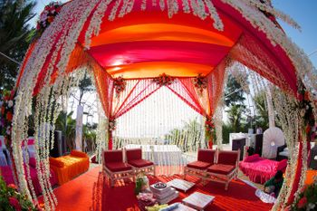orange and whote mandap decor