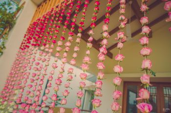Floral strings day decor for mehendi
