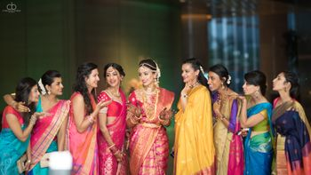 South Indian Bride with bridesmaids