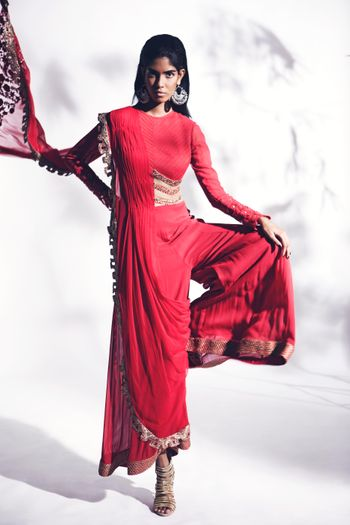 red long sleeves palazzos outfit