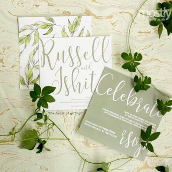 Cute simple botanical wedding card