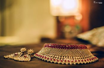 Bridal choker necklace and earrings with red stones