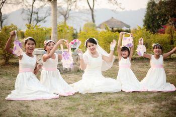 Cute bride with bridesmaids shot