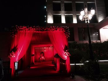 Photo of all red entrance decor