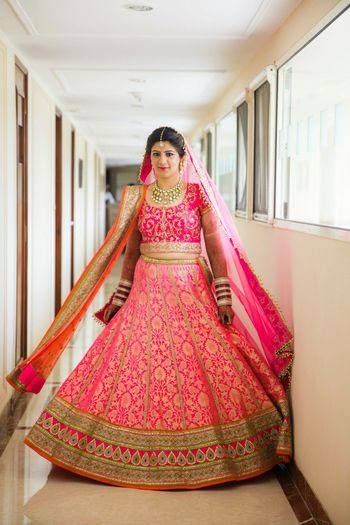 Bright pink benarasi bridal lehenga