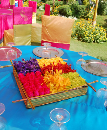 Table Decor with Multicolour Floral Centrepiece