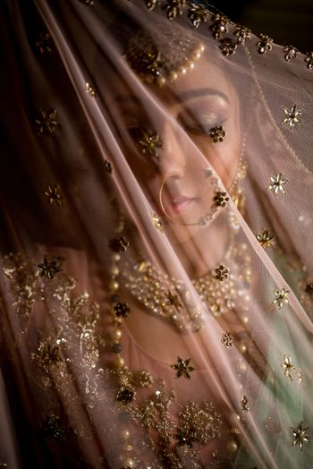 Photo of Bridal portrait behind dupatta