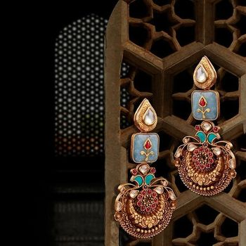 Mehendi meenakari earrings