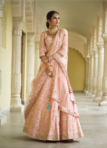Light pink and blue floral embroidery lehenga